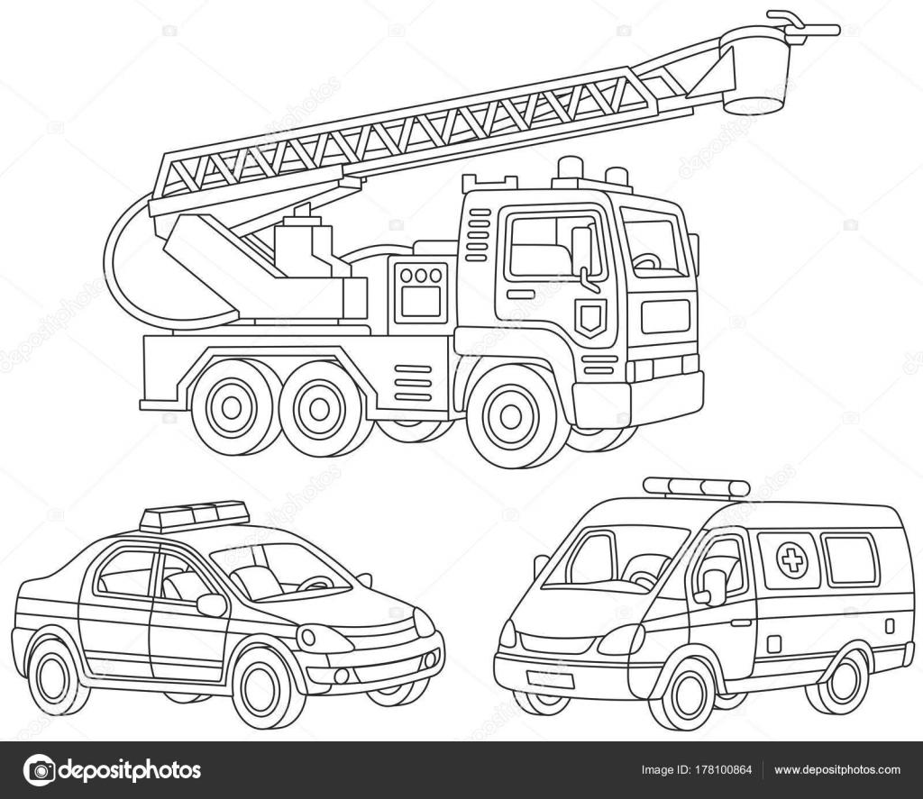 Vector Conjunto Camión Bomberos Ambulancia Coche Coche Policía ...
