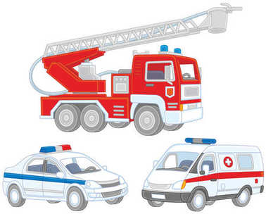 Vector set of a fire truck, an ambulance car and a police car