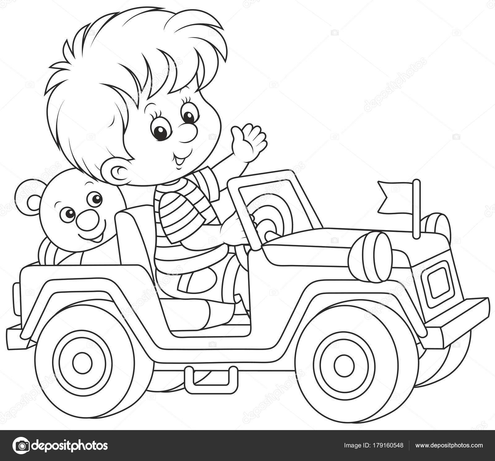 Niño Jugando Juguete Coche Carretera Una Ilustración Del Vector ...
