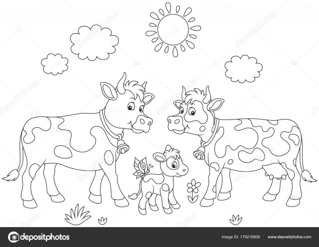 Una Vaca Moteada Toro Ternero Pequeño Una Ilustración Del Vector ...