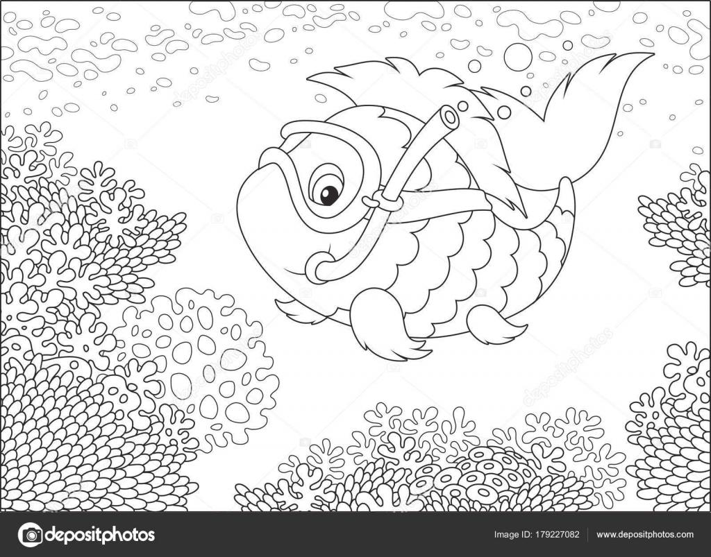 Bir Maske Yüzme Tropikal Bir Denizde Bir Mercan Kayalığı Siyah