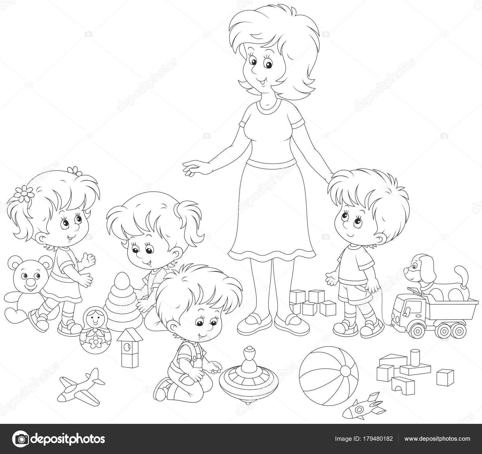 Dibujos Para La Maestra Niños Niñas Jugando Con Juguetes