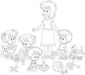 kleine Jungen und Mädchen, die mit Spielzeug um ihre junge und süße Kindergärtnerin spielen, eine schwarz-weiße Vektorillustration im Cartoon-Stil für ein Malbuch