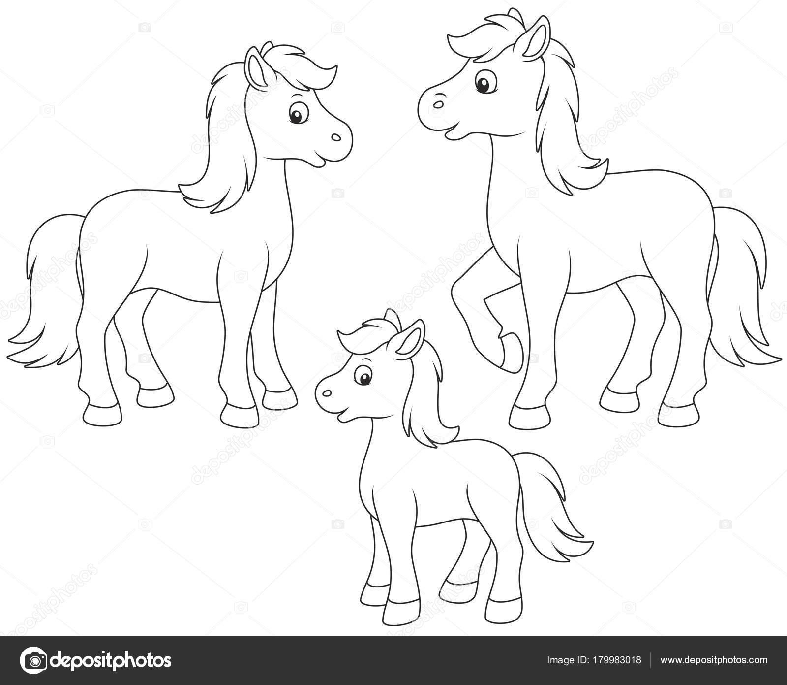 Dibujos: caballos animados para colorear | Una Familia Caballo