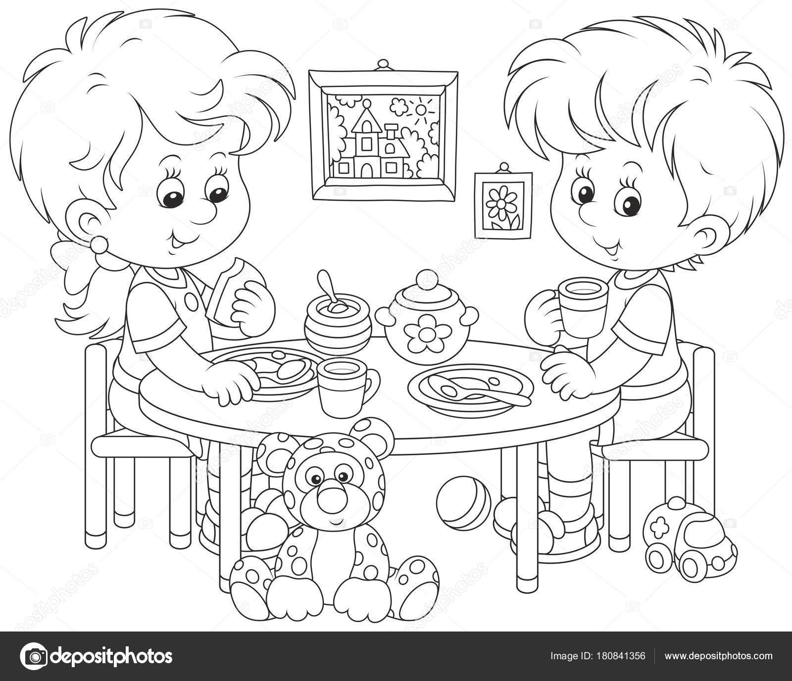 Little Children Breakfast Nursery Black White Vector Illustration