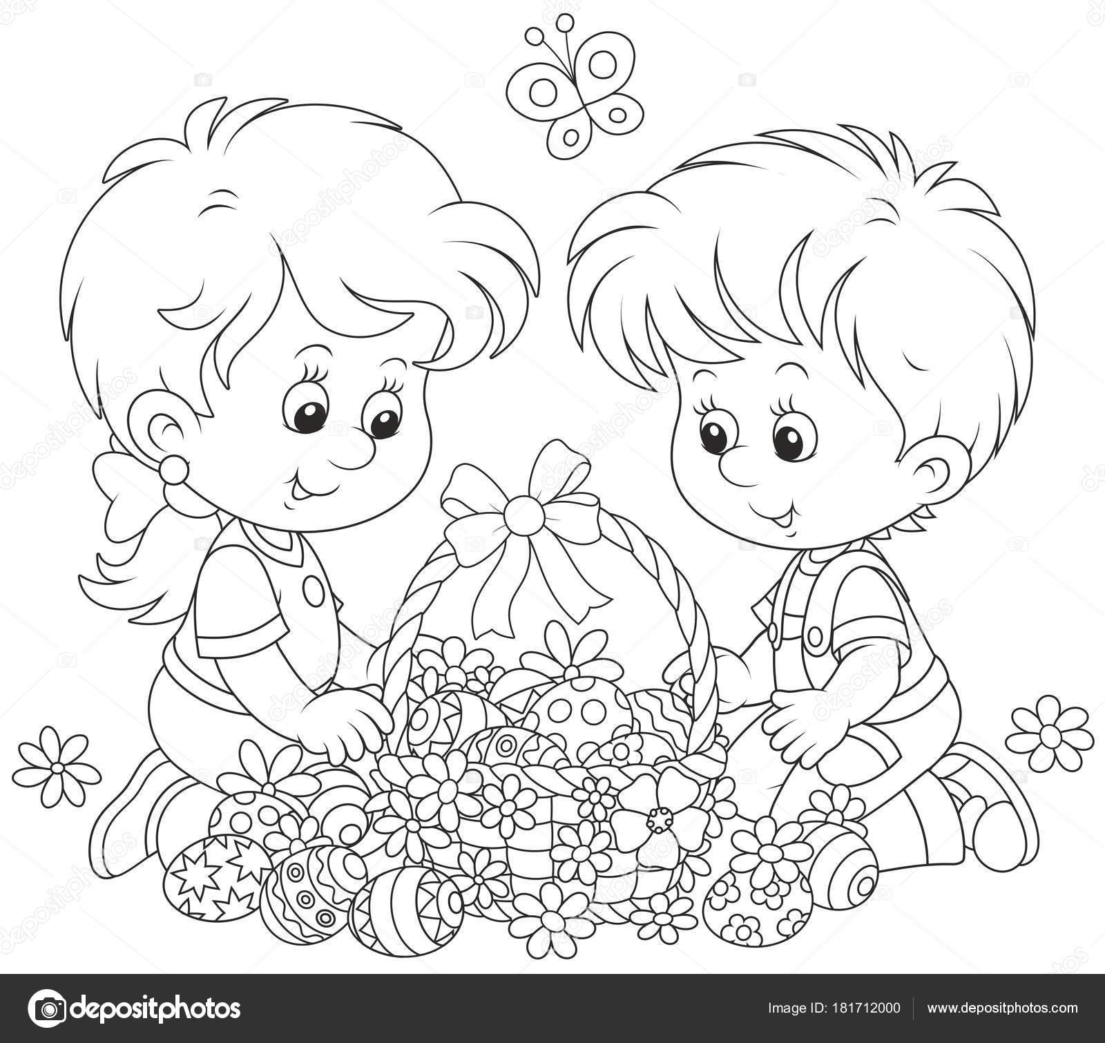 Piccoli Bambini Con Decorato Cestino Pasqua Delle Uova Dipinte Fiori