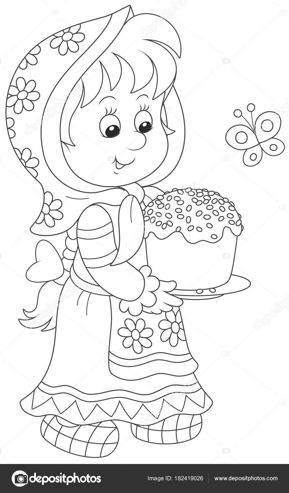 Niña Vestido Tradicional Con Pastel Pascua Decorado Una Ilustración ...