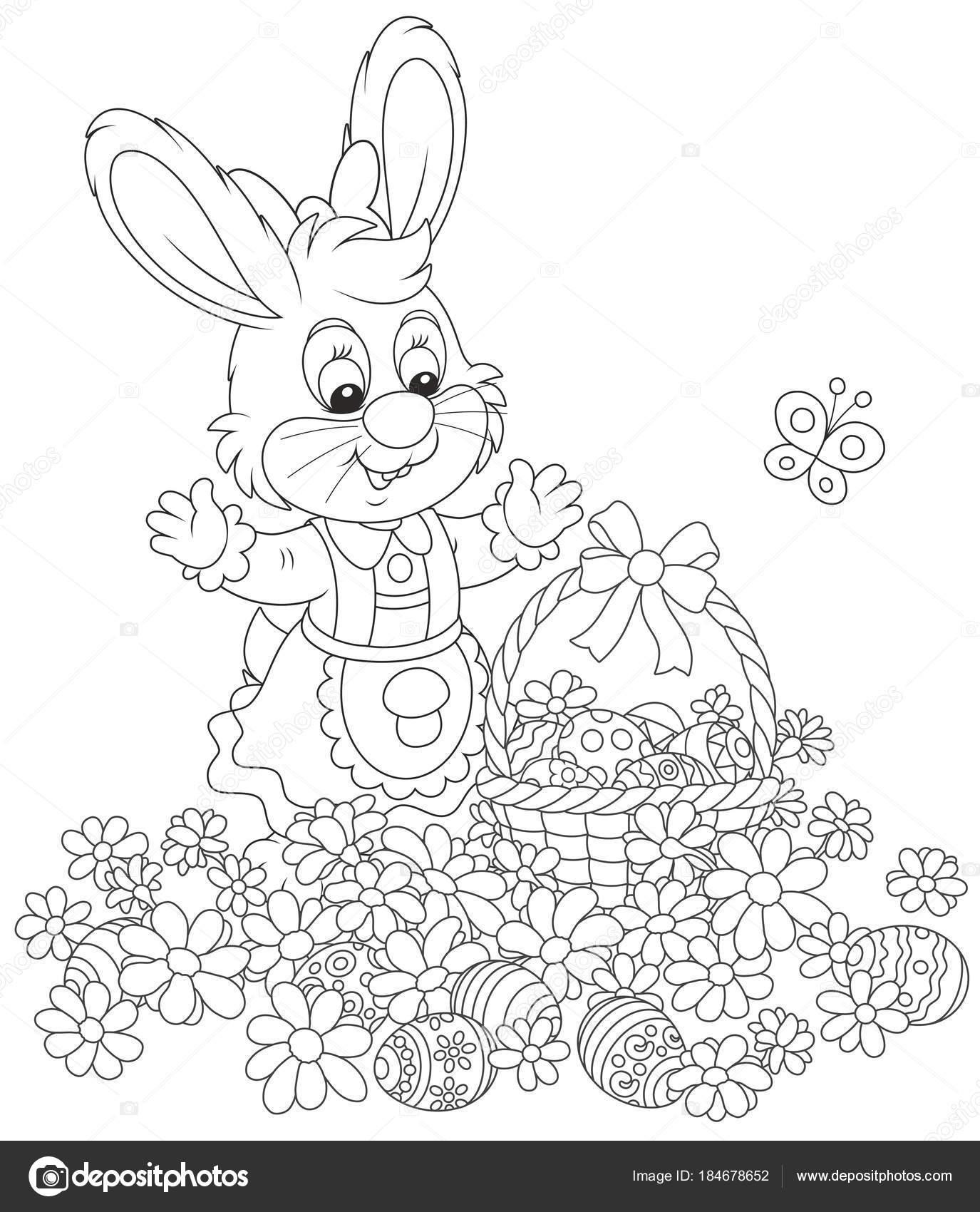 Caza Del Huevo Pascua Flores Conejito Con Una Cesta Decorada ...