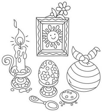 Easter collection of a painted egg, a burning candle and other objects for a coloring book