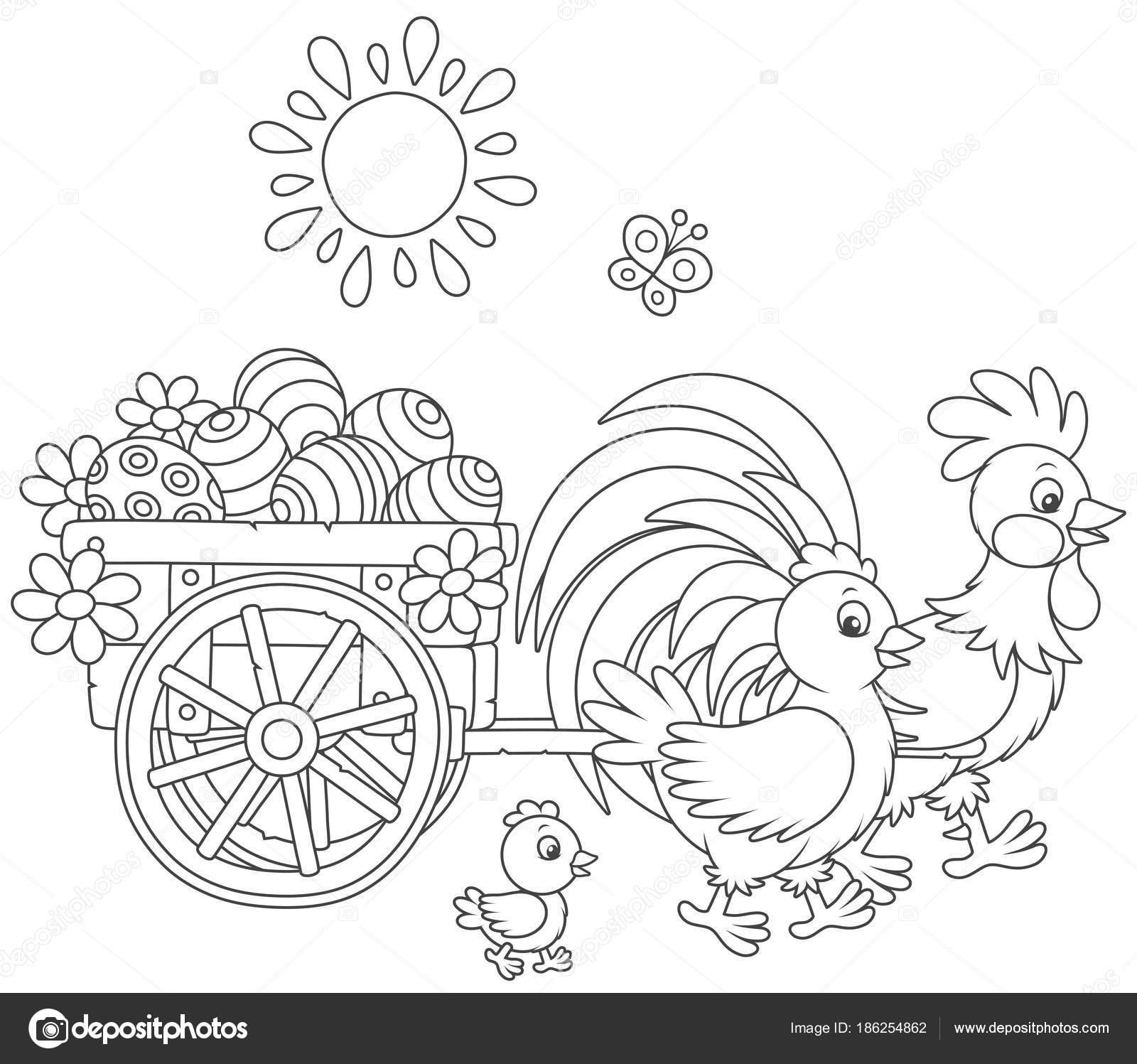 Pequeño Carro Madera Con Huevos Pascua Pintados Tirados Por Gallo ...