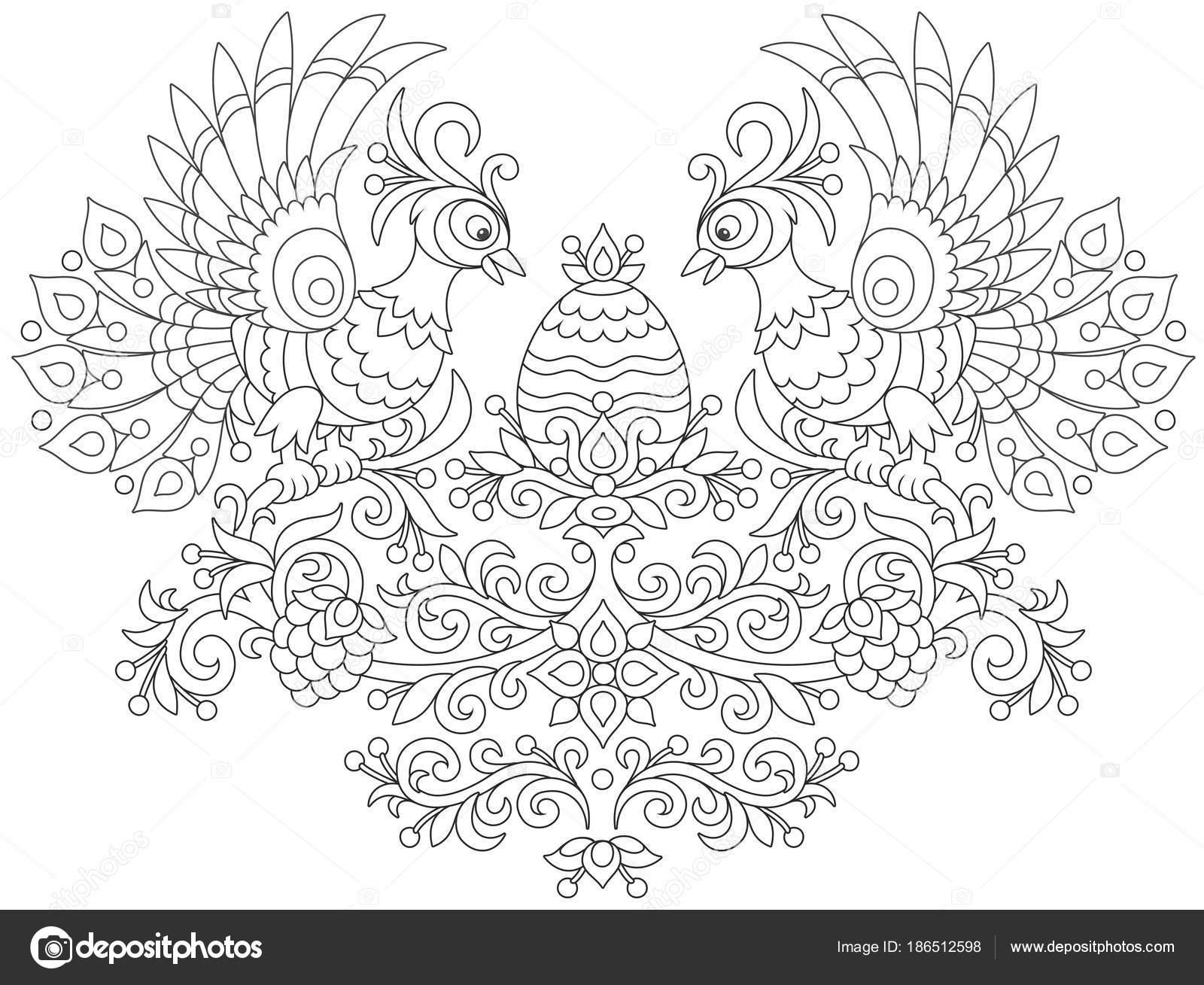 Huevo Pascua Adornado Dos Firebirds Entre Decorativas Hojas Flores ...
