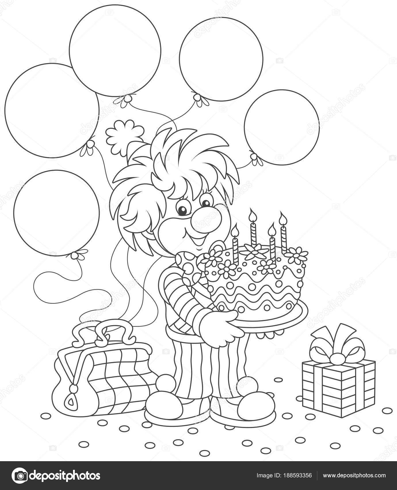 Amable Sonrisa Payaso Circo Traje Colorido Con Pastel Cumpleaños ...