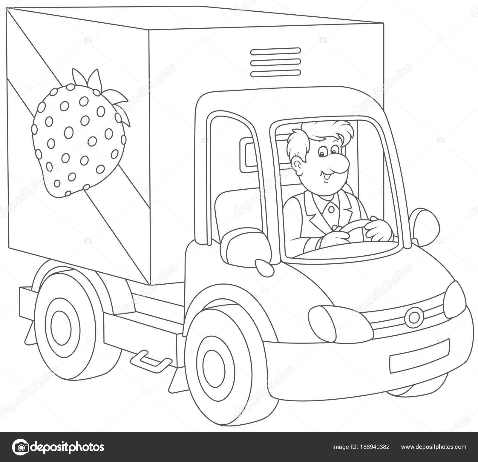 Sonriente Hombre Conduciendo Carro Con Frutas Verduras Blanco Negro ...