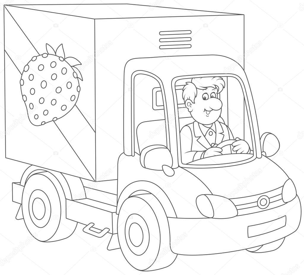 Animado Chofer Para Colorear Sonriente Hombre Conduciendo