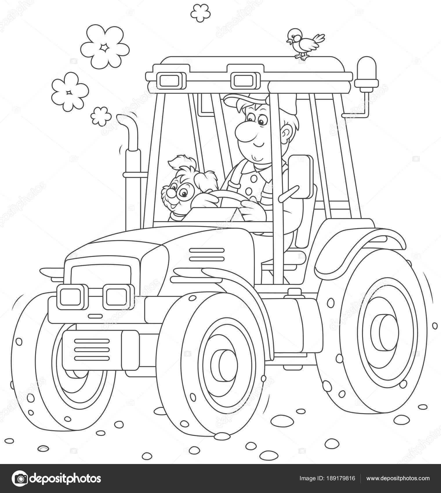 Sonriente Trabajador Conducir Tractor Con Ruedas Blanco Negro Vector ...