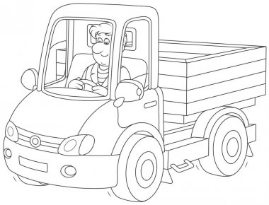 Trucker. Smiling man driving his small truck, a black and white vector illustration in cartoon style for a coloring book