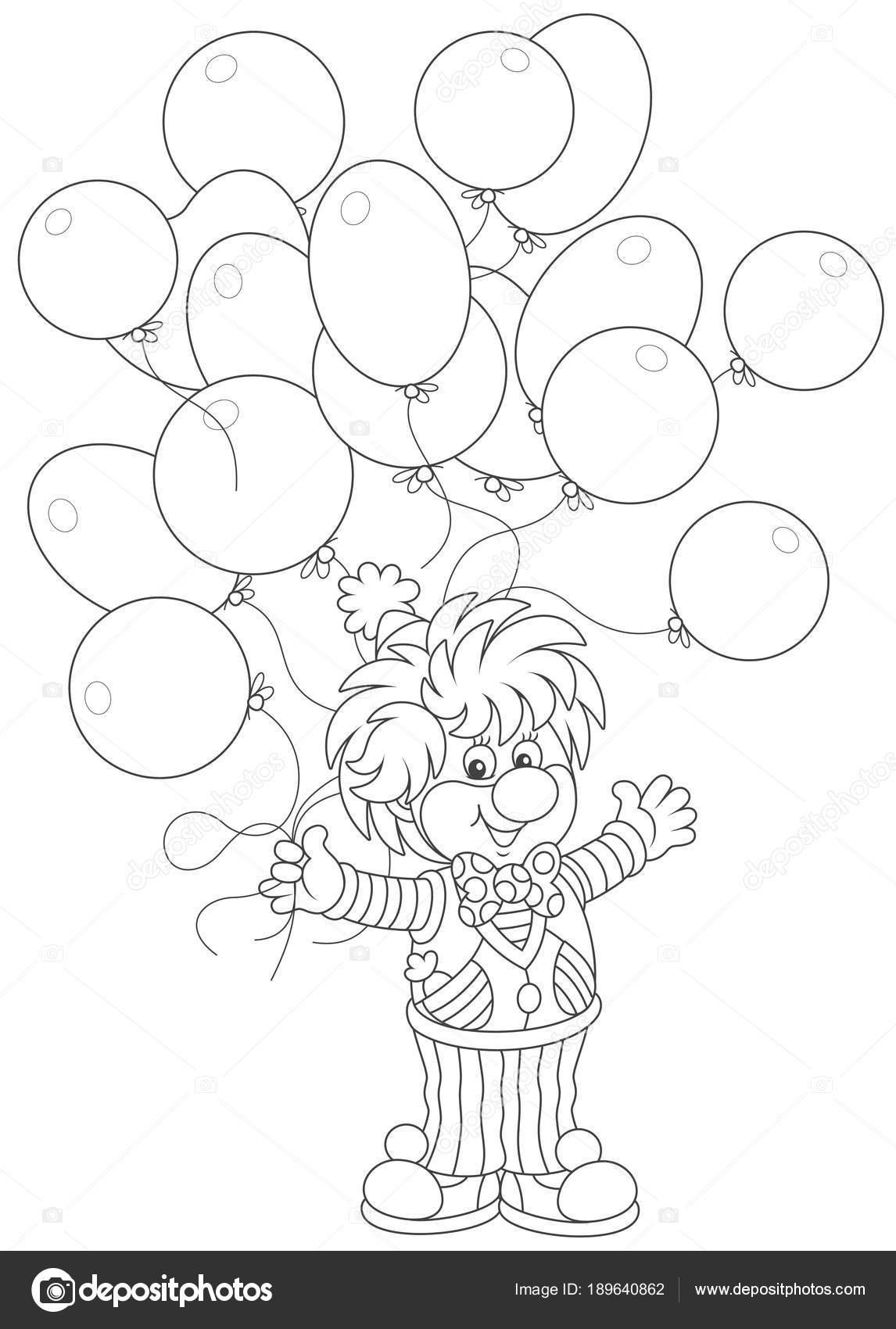 Agradable Sonriente Payaso Circo Con Globos Fiesta Una Ilustración ...