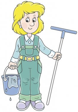 Smiling girl cleaner holding a swab and a bucket and going to wash a floor, a vector illustration in cartoon style