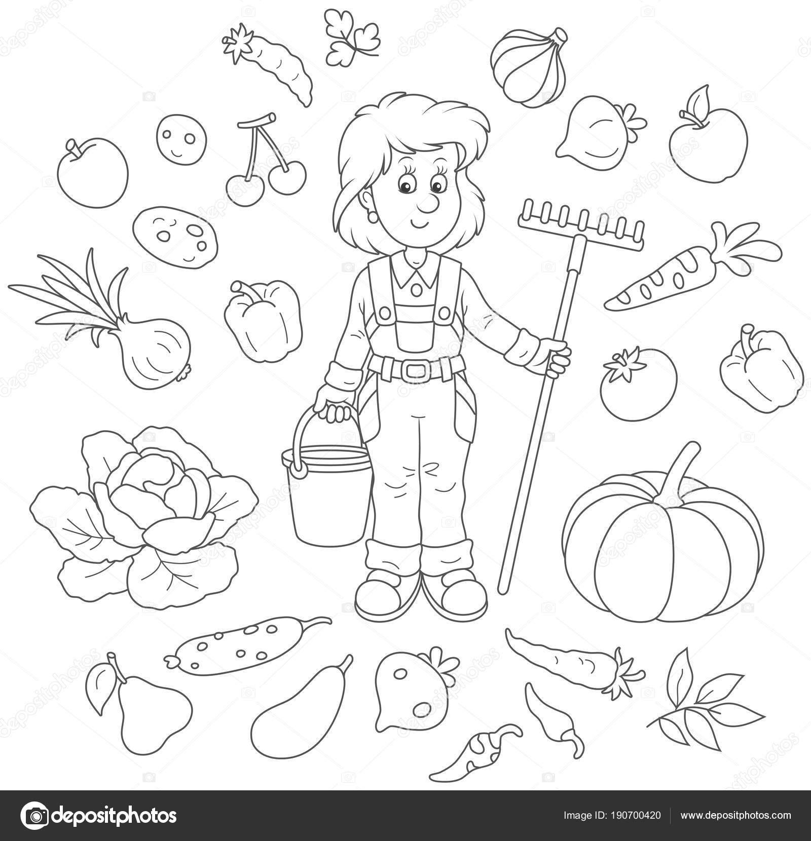 Imágenes Huerta Para Dibujar Sonriendo Jardinero Chica