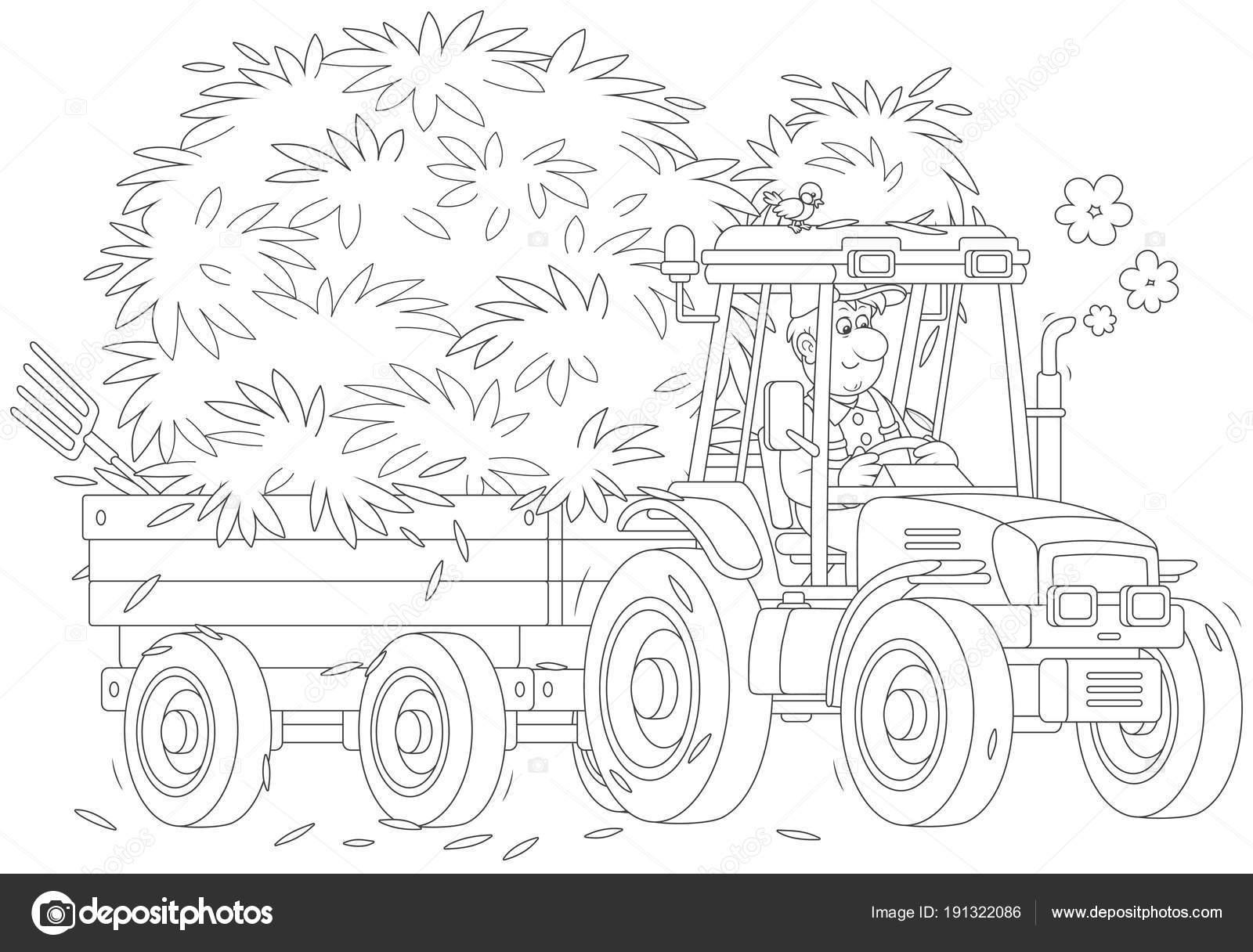 Onun Tekerlekli Traktör Römork Saman Ile Sürüş çiftçi Gülümseyen