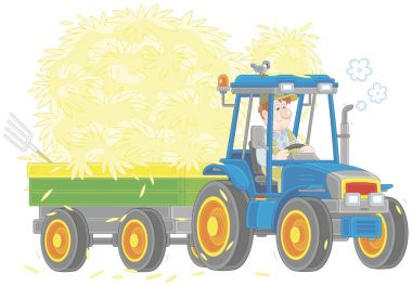 Smiling farmer driving his wheeled tractor with a trailer of hay, a vector illustration in a cartoon style