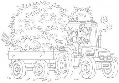 Smiling farmer driving his wheeled tractor with a trailer of hay, a black and white vector illustration in a cartoon style for a coloring book