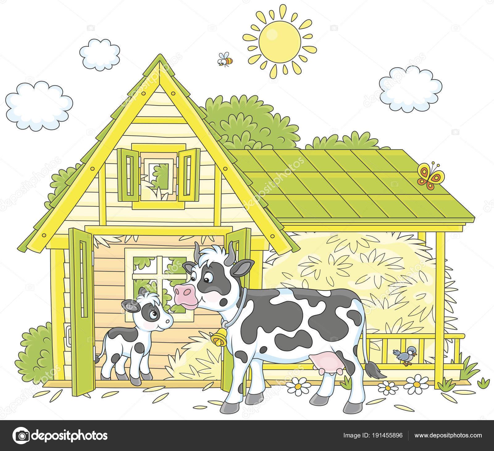 Imágenes Establos Animados Manchas Vaca Ternero Pequeño