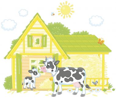 Spotted cow and her small calf near their barn on a milk farm, a vector illustration in cartoon style
