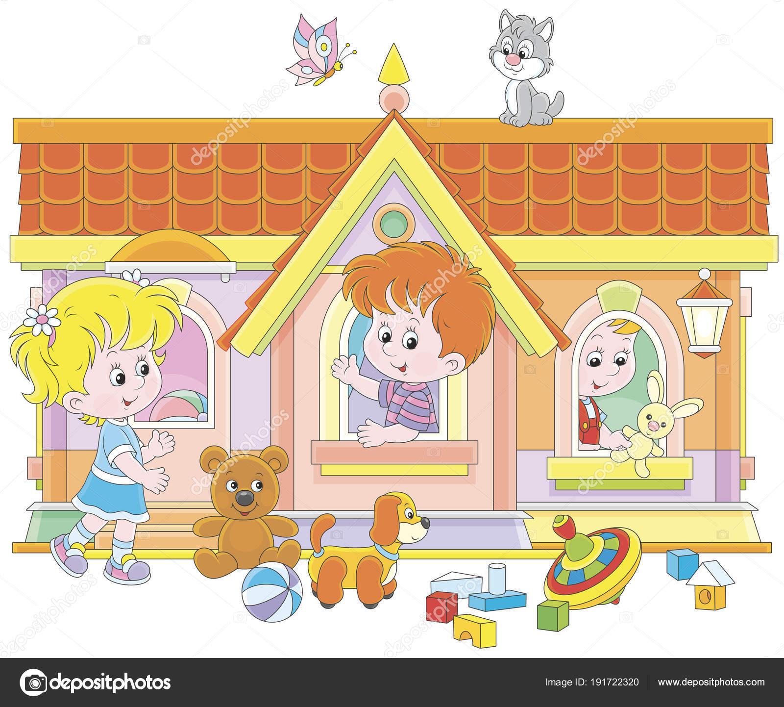Los niños pequeños jugando en una casa de juguete en un patio, vector  ilustración en un estilo de dibujos animados - dibujos: casitas animadas  para niños ...
