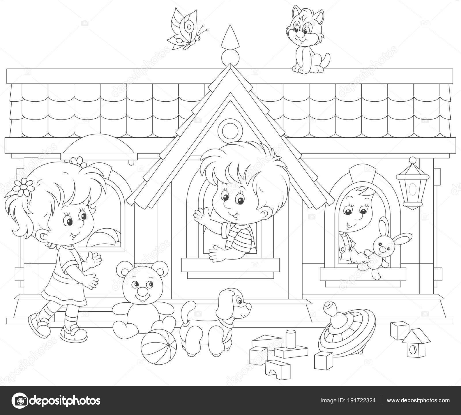 Piccoli Bambini Che Giocano Una Casa Del Giocattolo Parco Giochi