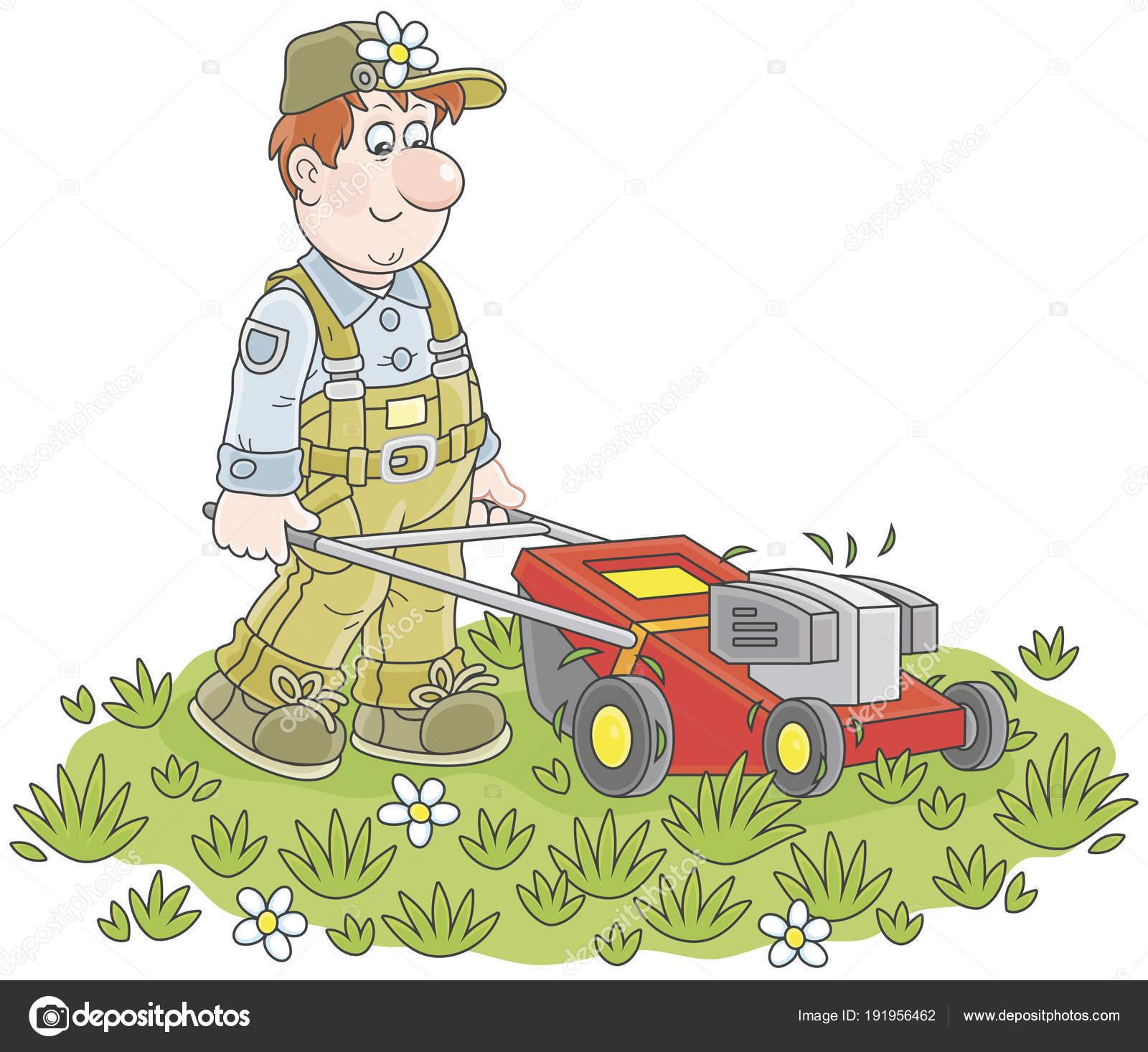 Rasenmaher Bei Der Arbeit Lachelnd Mann Auf Seinem Rasen Rasenmahen