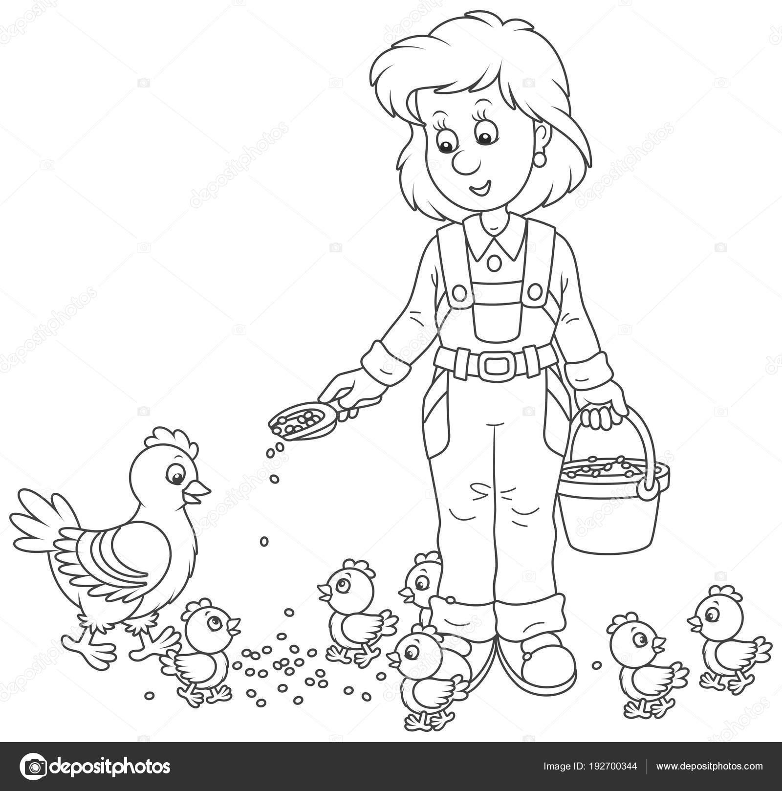 Dost Gülümseyen Kümes Hayvanları Kadın Onun Tavuk Küçük Civciv Kümes