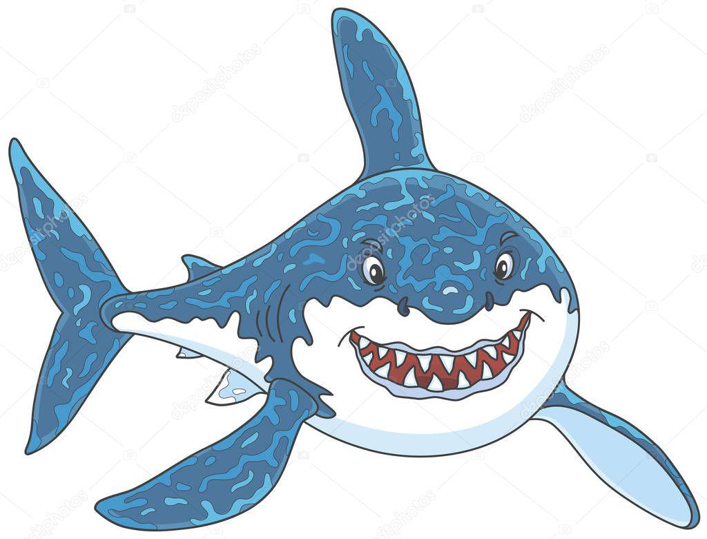 Freundlich Lächelnd Großen Weißen Hai Angreifen Vektor ...