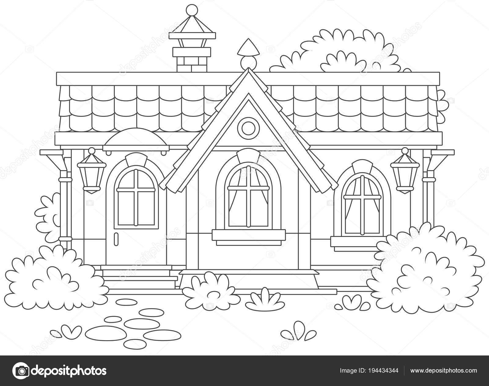 Maison Campagne Avec Buissons Illustration Vectorielle Noir Blanc