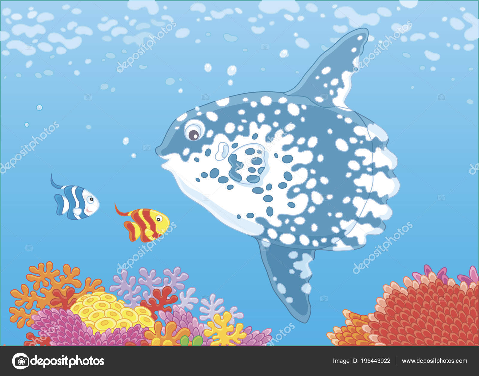 Große Fische Mond Und Kleine Schmetterling Fische Schwimmen Über ...