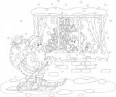 in der Nacht vor Weihnachten, ein kleiner Junge blickt durch ein Fenster auf den Weihnachtsmann beim Skifahren mit seiner großen Tasche voller Weihnachtsgeschenke, schwarz-weißer Vektor-Cartoon-Illustration