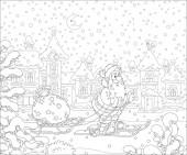 Weihnachtsmann fährt Ski und trägt seine Tasche mit Weihnachtsgeschenken auf seinem Schlitten durch eine verschneite Winterstadt in der verschneiten Nacht vor Weihnachten, schwarz-weiße Vektor-Cartoon-Illustration