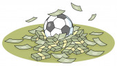 Corrupt football games and championship for money, vector cartoon illustration on a white background