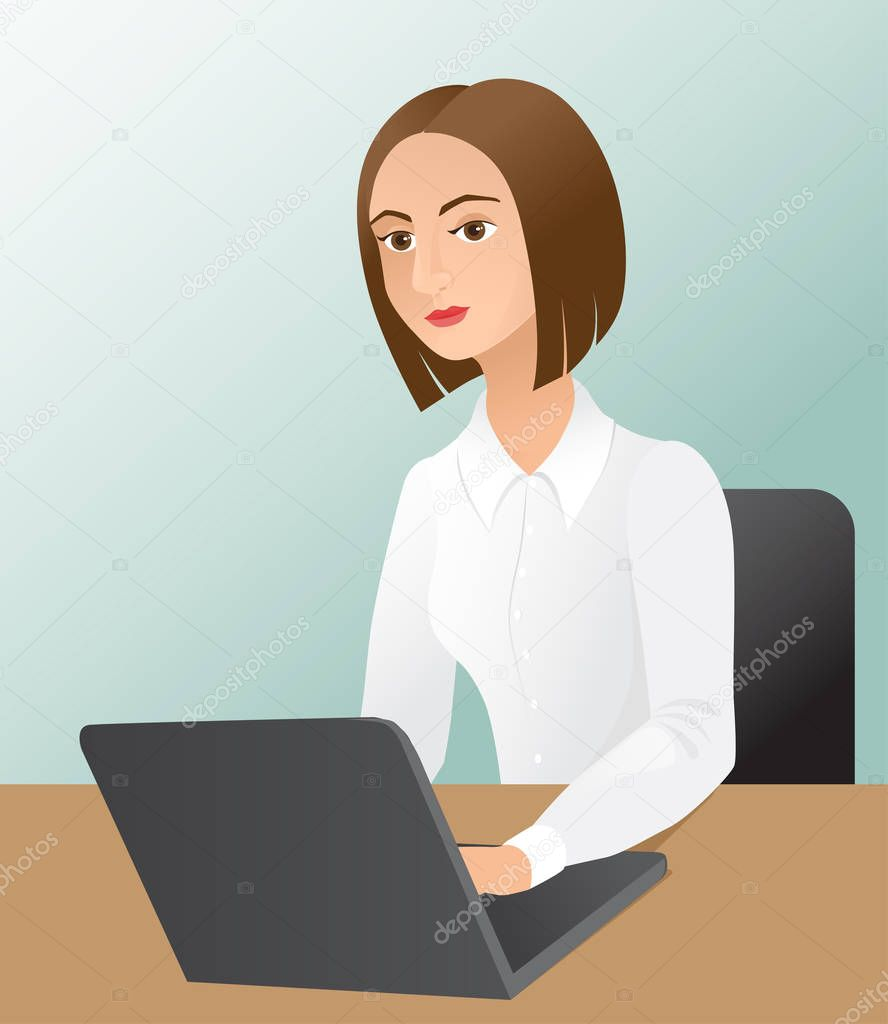 Фотообои Young business woman with a laptop