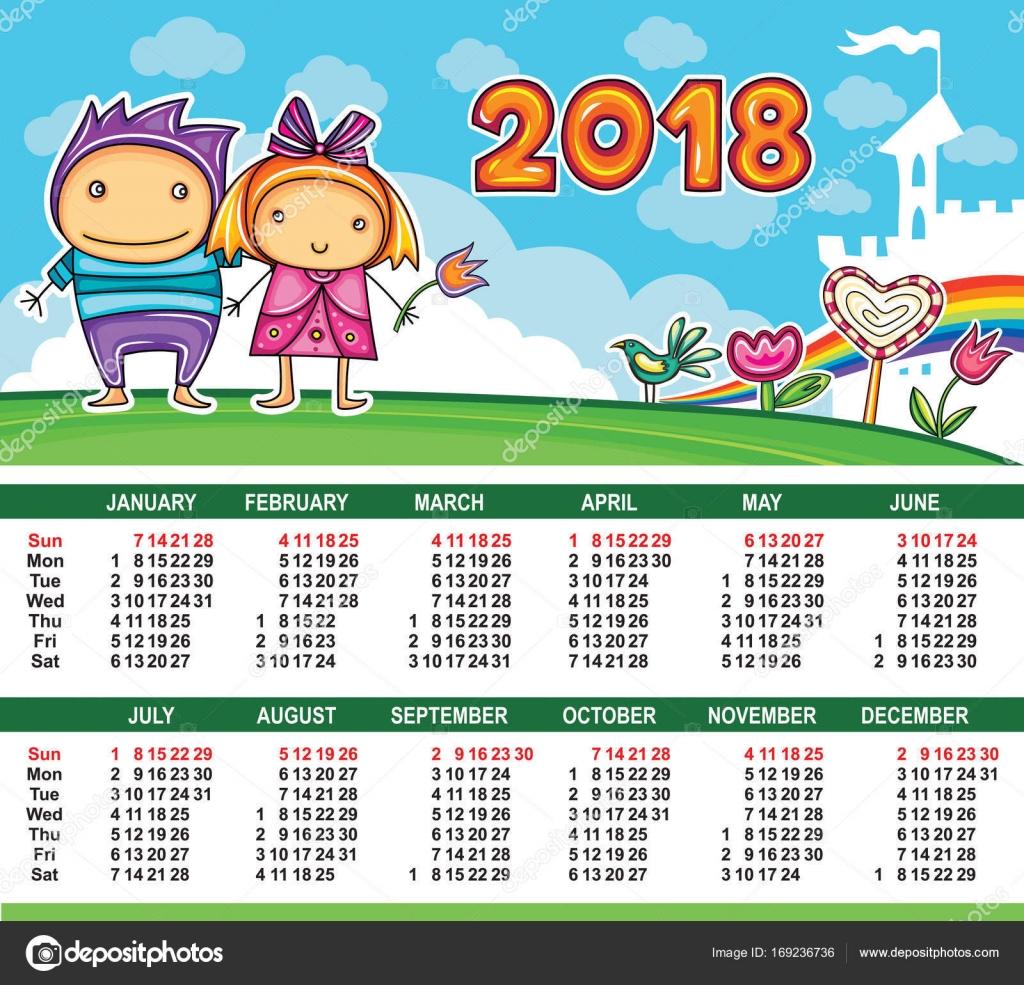 Calendario de vector año 2018 — Vector de stock © dianka #169236736