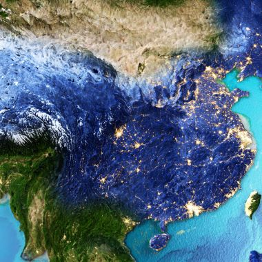 China, Taiwan space background