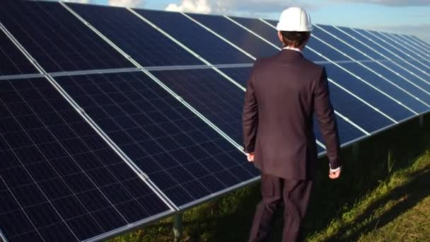 Rear view of businessman walking at solar energy station