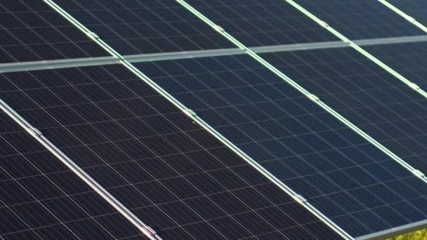 Zblízka pohled fotovoltaických panelů a šťastný ředitel solární stanice