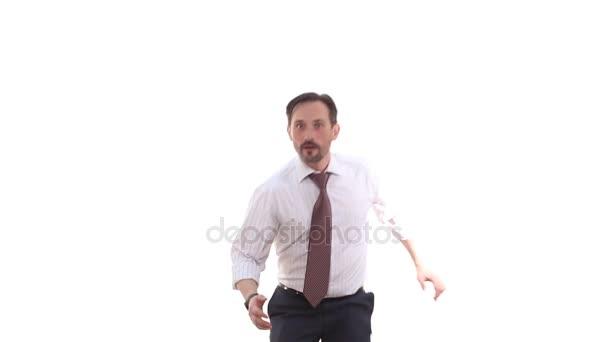 Businessman giving hand in studio