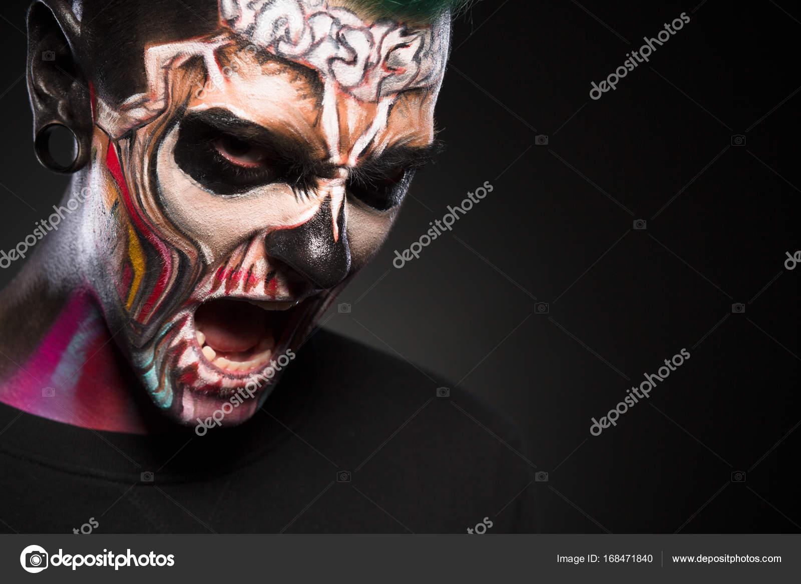 Maquillaje De Monstruo Hombre Con Cara De Zombie Retrato De - Maquillaje-zombie-hombre