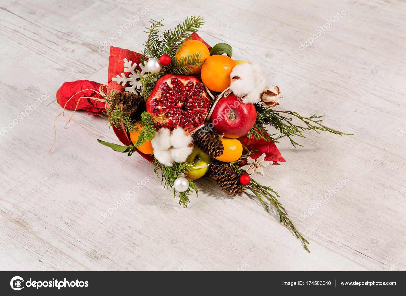 Mazzo Di Fiori Originale.Colorful Original Bouquet Of Fruits And Flowers Stock Photo