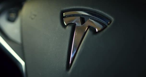Interior of cabin of the Tesla Model X car.