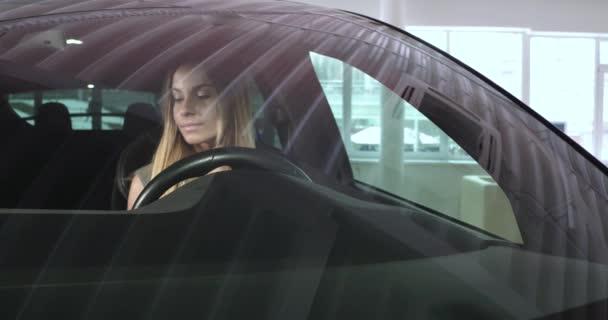 Woman testing Tesla car model X