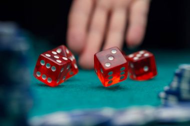 Picture of dice, chips, palm in casino on green table