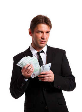 Image of businessman in suit with euro at hands